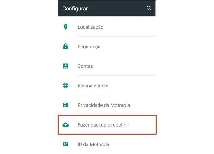 Acesse as configurações de backup e restauração (Foto: Reprodução/Paulo Alves)