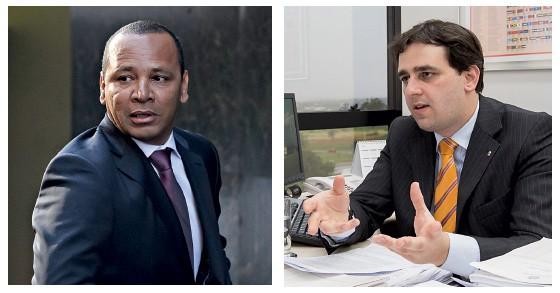 Pai de Neymar, suspeito de sonegação fiscal e falsidade ideológica e Thiago Nobre, o procurador que investiga a vendo do jogador ao Barcelona  (Foto: Dani Pozo/AFP e João Américo/Secom/PGR)