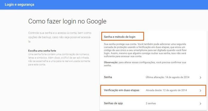 Selecione as configurações da verificação em duas etapas na conta Google (Foto: Reprodução/Barbara Mannara)
