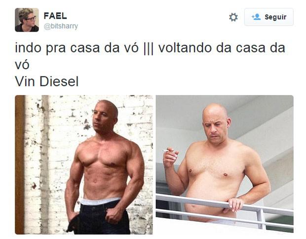 No Twitter, Vin Diesel virou motivo de piada após divulgação de foto sem camisa (Foto: Reprodução/Twitter/bitsharry)