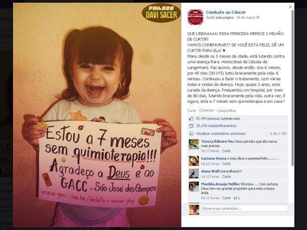 Menina de 3 anos comemora fim de quimioterapia e comove na internet (Foto: Reprodução/ Facebook)
