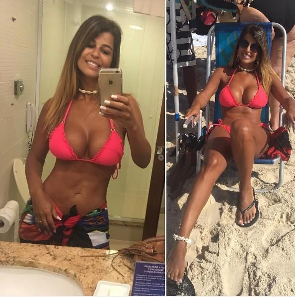 Nana Maglhães, mulher de Tiririca, mostra look para curtir praia no Rio (Foto: Reprodução/Instagram)