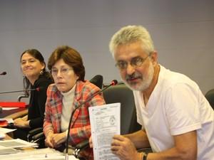 """Responsáveis pelo grupo de trabalho """"Ditadura e repressão aos trabalhadores e ao movimento sindical"""" (Foto: Divulgação/ Ascom CNV)"""