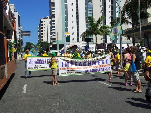 Manifestantes em Vila Velha, Espírito Santo (Foto: Manoela Albuquerque/ G1)