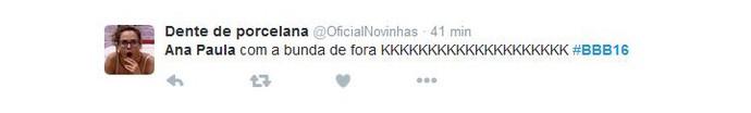 Ana Paula mostra bumbum Twitter BBB (Foto: Reprodução/Internet)