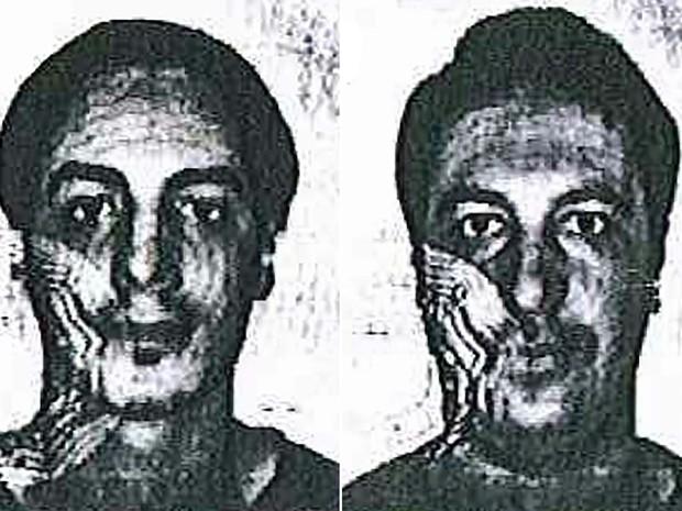 Montagem mostra fotos divulgadas pela polícia belga nesta sexta-feira (4) dos dois novos suspeitos procurados como parte da investigação sobre os ataques em Paris em 13 de novembro (Foto: AFP PHOTO / BELGIAN POLICE)