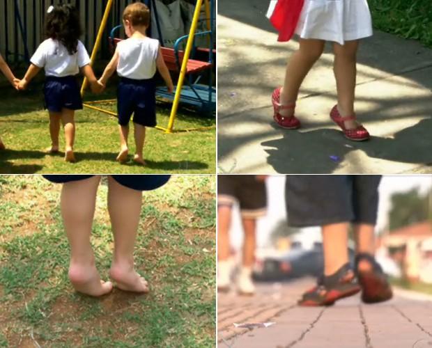 Quando bebês, as crianças costumam andar assim, mas depois de certa idade, é sinal de alerta (Foto: Mais Você / TV Globo)