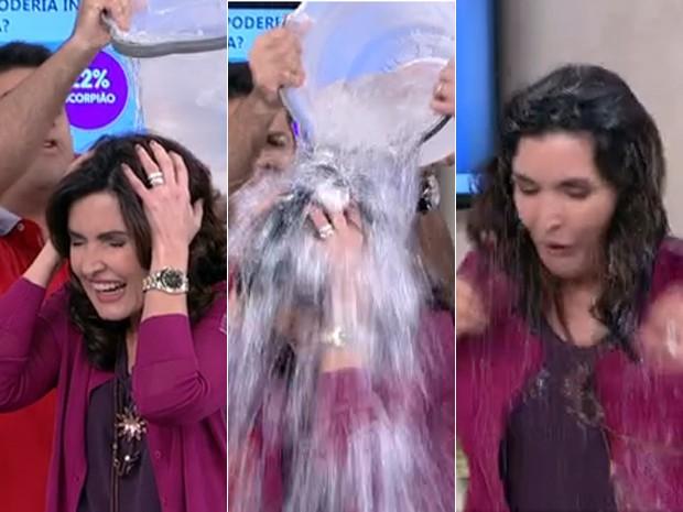 Fátima aceita o desafio do 'balde de gelo' (Foto: Encontro com Fátima Bernardes/TV Globo)