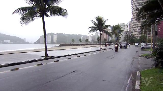 O inverno está chegando com chuvas na Baixada Santista (Foto: Reprodução/TV Tribuna)