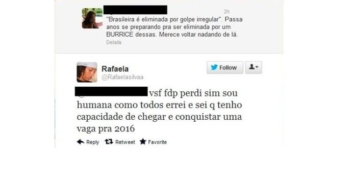 Rafaela Silva rebate no Twitter as críticas por eliminação nos Jogos Olímpicos de Londres de 2012 (Foto: Reprodução)