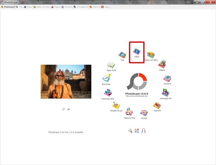 """Abra o PhotoScape e clique na opção """"Editor"""" (Foto: Reprodução/Daniel Ribeiro)"""