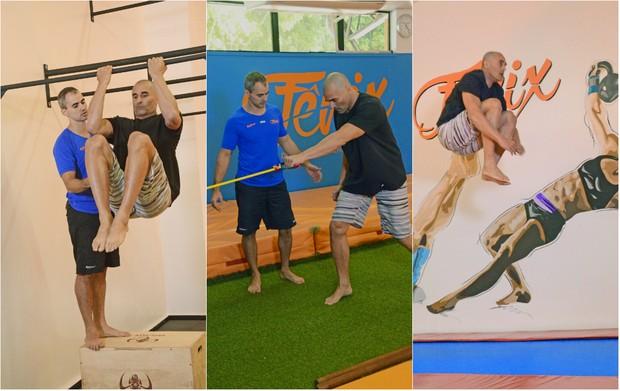 Luciano Szafir faz treinamento sem impacto por causa de lesão no joelho: Muito saltos na cama elástica, flexões, atividades com corda e abdominais (Foto: Reprodução do Instagram)