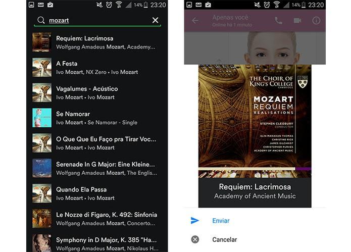 App do Spotify permite enviar músicas para amigos no Facebook Messenger (Foto: Reprodução/Barbara Mannara)