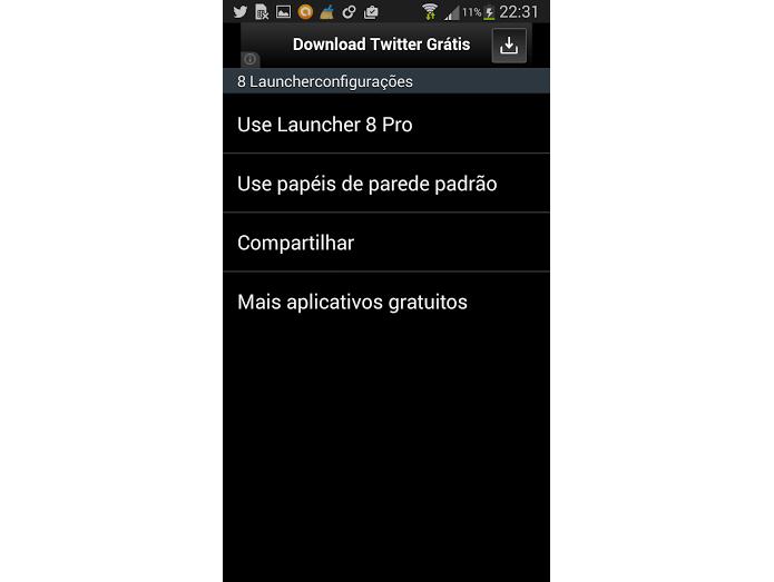 Aba de configurações é instalada com o app (Foto: Reprodução/Thiago Barros)