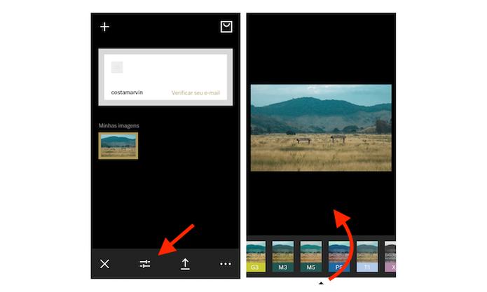 Acessando a tela de filtros do VSCO Cam para iPhone (Foto: Reprodução/Marvin Costa) (Foto: Acessando a tela de filtros do VSCO Cam para iPhone (Foto: Reprodução/Marvin Costa))