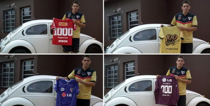 Emerson e quatro de suas principais camisas do goleiro Rogério Ceni (Foto: Divulgação/Arquivo pessoal)