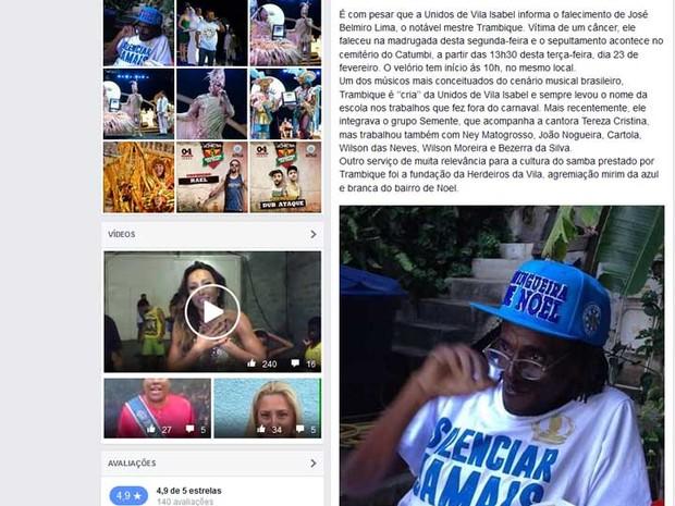 Nota da Unidos de Vila Isabel sobre a morte de Mestre Trambique (Foto: Reprodução / Facebook da Unidos de Vila Isabel )