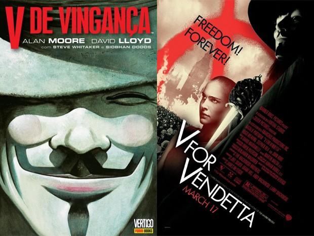 À esquerda, capa da edição brasileira do quadrinho 'V de vingança', e, à direita, cartaz original da adaptação para o cinema de 2005 (Foto: Divulgação)