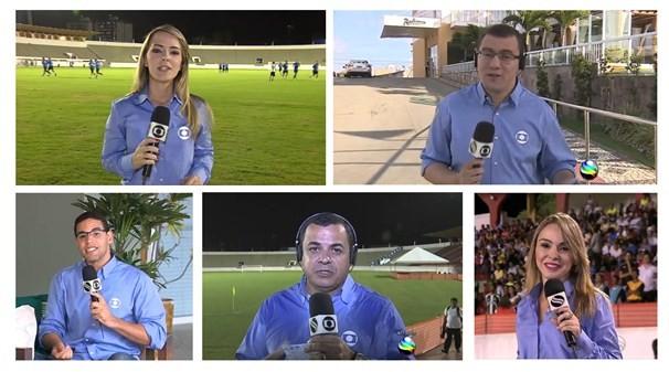 Repórteres que fazem a cobertura da Copa, em Sergipe (Foto: Arte/ TV Sergipe)