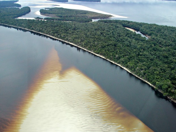 Bancos de areia são vistos em várias áreas do Rio Negro (Foto: Suelen Gonçalves/G1 AM)