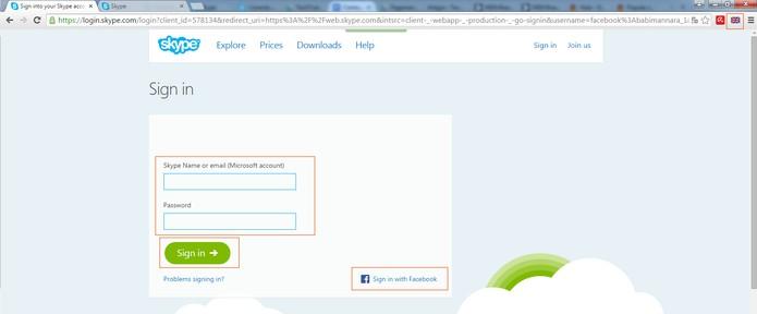 Acesse o Skype com suas informações ou pelo Facebook (Foto: Reprodução/Barbara Mannara)
