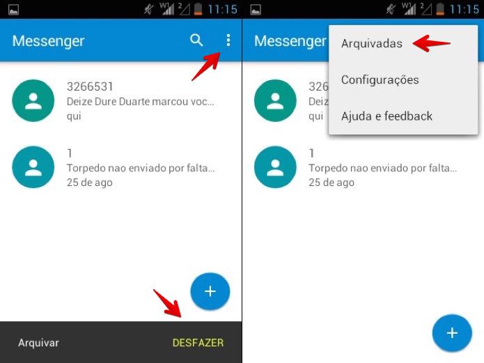 Acessando mensagens arquivadas (Foto: Reprodução/Helito Bijora)