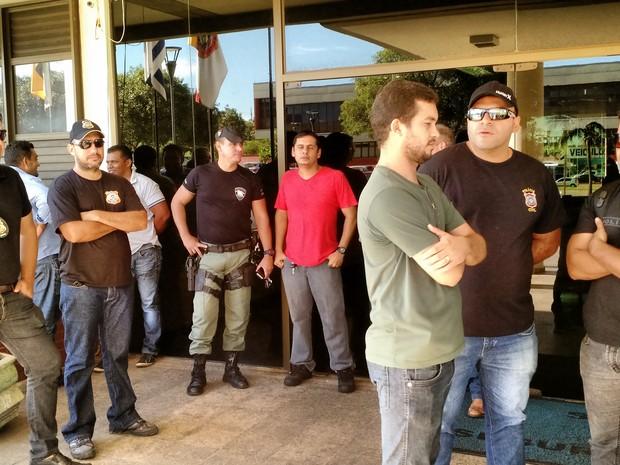 Policiais civis pararam as atividades nesta quarta-feira (25), no Tocantins (Foto: Monique Almeida/G1)