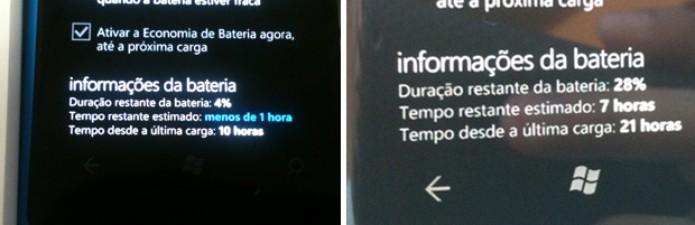 Bateria do Lumia 800 antes e depois do update (Foto: Allan Melo/TechTudo)