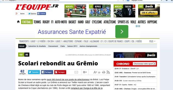 Jornal francês L'Équipe noticia contratação de Felipão pelo Grêmio (Foto: Reprodução)