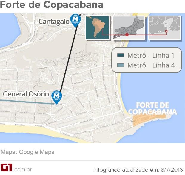 Mapa do Forte de Copacabana  (Foto: Arte G1)