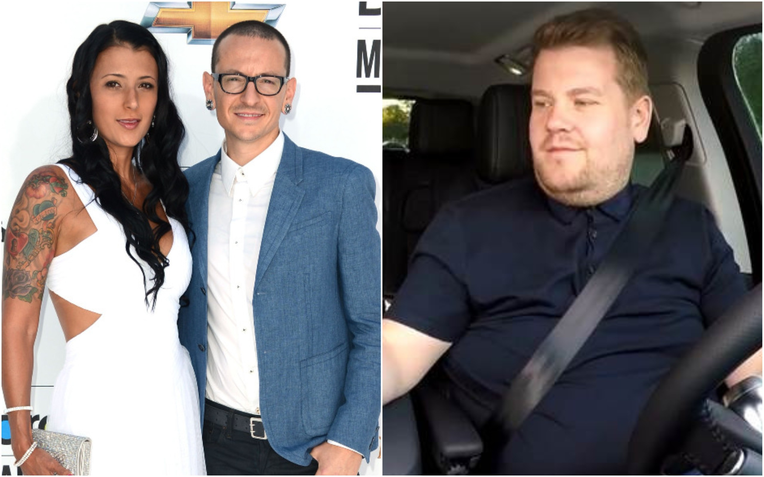 Chester Bennington, Talinda, James Corden (Foto: Getty Images / Divulgação)