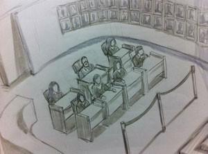 juri, caso bruno, desenho (Foto: Leo Aragão/G1)