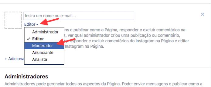 Configuração da ferramenta para adicionar um moderador de comentários em uma página do Facebook (Foto: Reprodução/Marvin Costa)