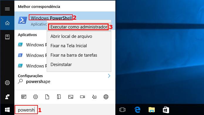 Executando PowerShell no Windows 10 (Foto: Reprodução/Edivaldo Brito)