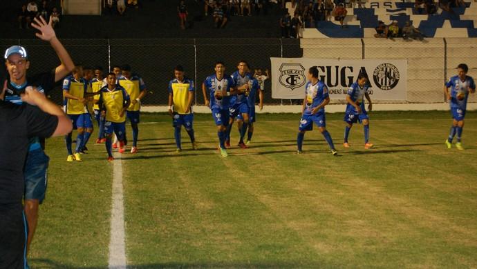 Jogadores do Atlético comemoram o gol contra o Treze (Foto: Silas Batista / GloboEsporte.com/pb)