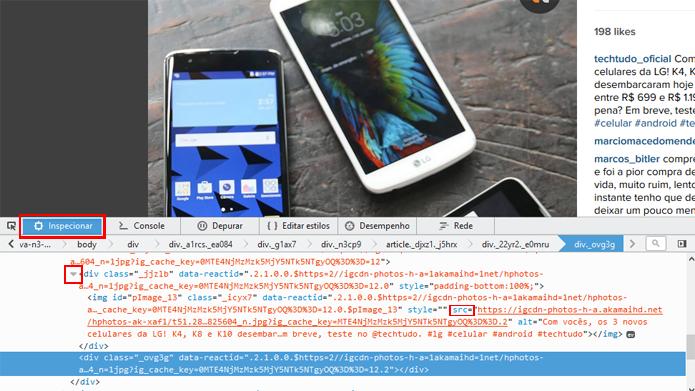 Editor de código permite encontrar e salvar links para fotos da rede social (Foto: Reprodução/Instagram)