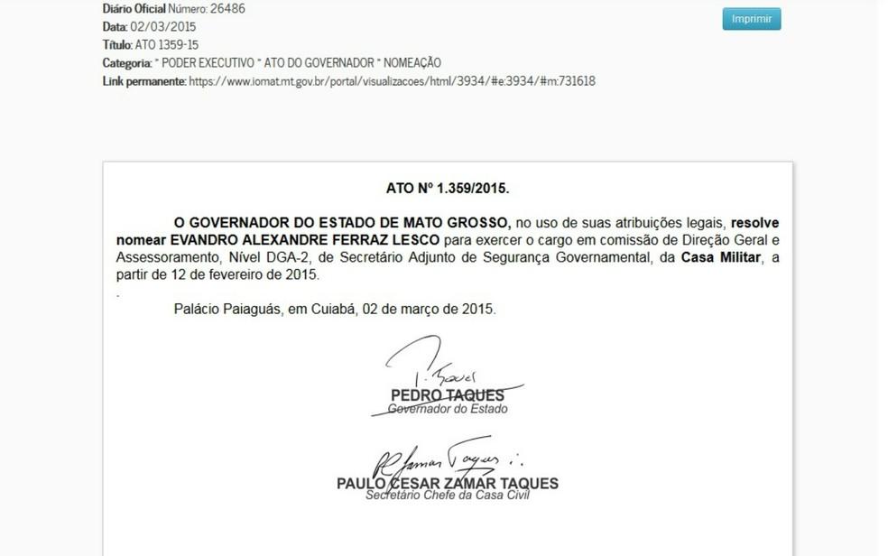 Ato de nomeação de Lesco na Casa Militar foi publicado no Diário Oficial do Estado no dia 2 de março de 2015 (Foto: Reprodução/ DOE-MT)