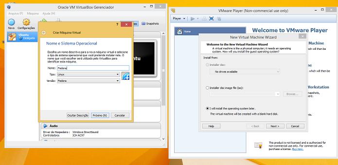 Criando uma nova máquina virtual no VirtualBox e VMWare Player (Foto: Reprodução/Edivaldo Brito)