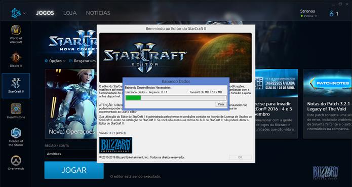 Aguarde o download e a instalação do editor de mapas do StarCraft 2(Foto: Reprodução/Daniel Ribeiro)