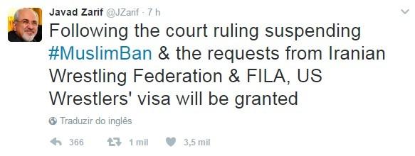 Twitter Ministro Relações exteriores Irã  (Foto: Reprodução Twitter)