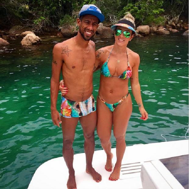 Leo Moura com a esposa Camila