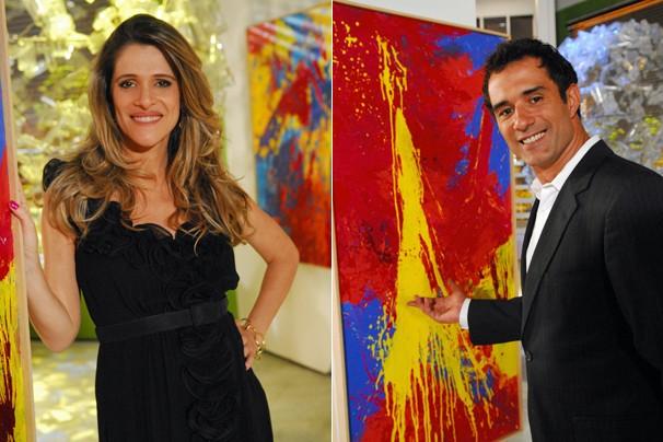 Simone (Ingrid Guimarães) acha que Denis (Marcos Pasquim) é o autor as obras de Xico (Foto: João Miguel JR./Globo)