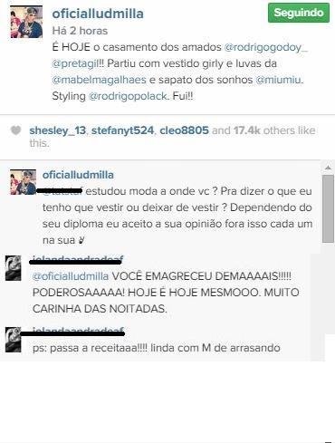 Ludmilla rebate critica na web  (Foto: Reprodução do Instagram)