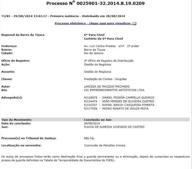 Processo de Anitta contra a K2L (Foto: Reprodução/Internet)