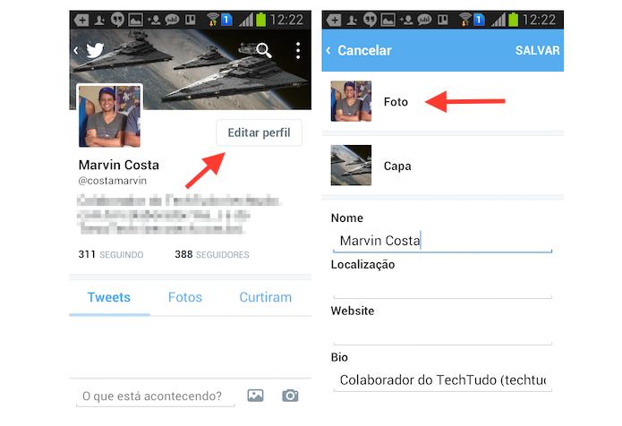 Acessando a página de alteração de foto de perfil do Twitter no Android (Foto: Reprodução/Marvin Costa)