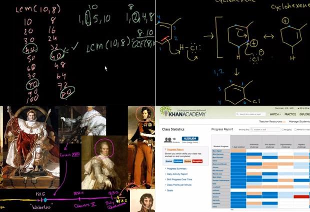 A aula mais antiga no canal da Khan Academy no YouTube, de 2006; vídeo sobre química orgânica; explicação sobre a Revolução Francesa; e o relatório que o professor recebe sobre o desempenho dos alunos (Foto: Reprodução)