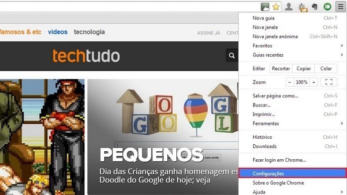 Destaque para a opção de configurações no menu do Chrome (Foto: Reprodução/Raquel Freire)