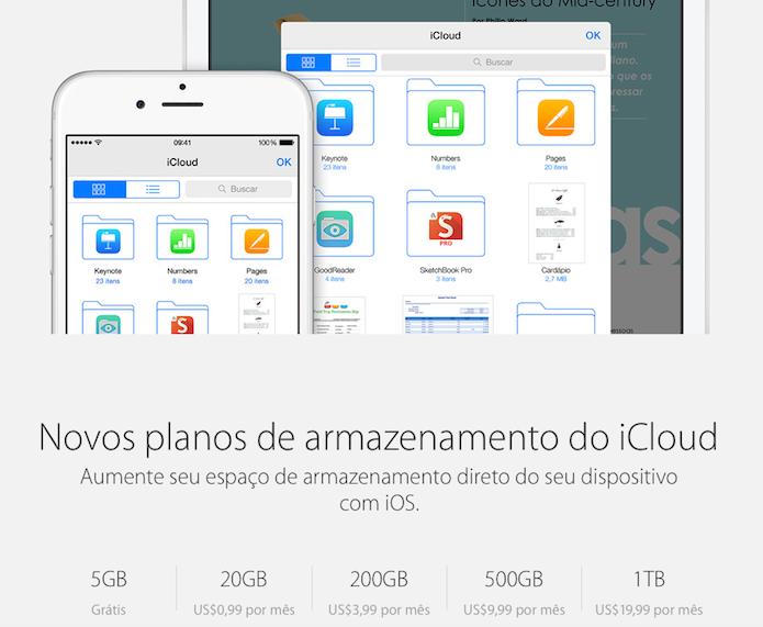 Mudança de preços no iCloud: 1 TB por US$ 20 (Foto: Divulgação/Apple)