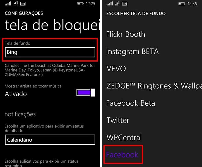 Escolha o Facebook como plano de fundo para botar as fotos da rede na tela de bloqueio do telefone (Foto: Reprodução/Elson de Souza)