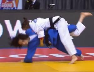 Ebru Sahin, judoca, lesão; Judô (Foto: Reprodução/SporTV)